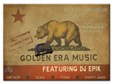 picture of golden era music flyer california republic flag themed